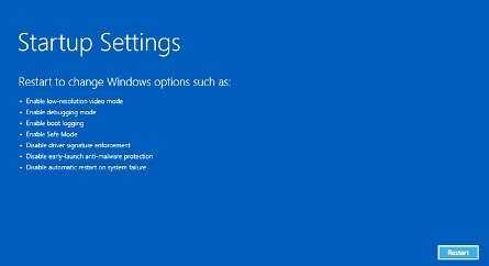 Restart Mode Startup Settings Windows 8 dan 10